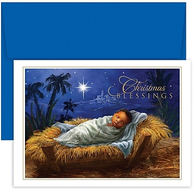 JAM Paper® Christmas Holiday Card Set, Baby Jesus in a Manger, 18/Pack (526887800)