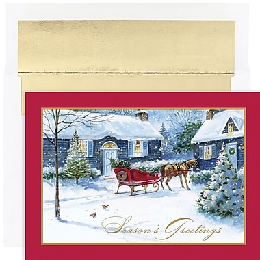 JAM Paper® Christmas Holiday Card Set, Sleigh Bells, 18/Pack (526887900)