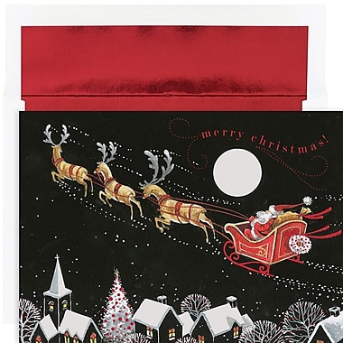 JAM Paper® Christmas Holiday Card Set, Santa Sleigh, 16/Pack (526888100)
