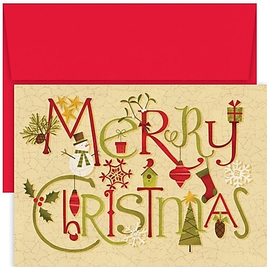 JAM Paper® Christmas Holiday Card Set, Crackle Christmas, 18/Pack (526888300)
