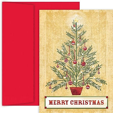 JAM Paper® Christmas Holiday Card Set, Sprue Tree, 18/Pack (526888400)