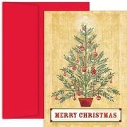 JAM Paper – Ensemble de cartes de Noël et des Fêtes, sapin décoré, 18/paquet (526888400)
