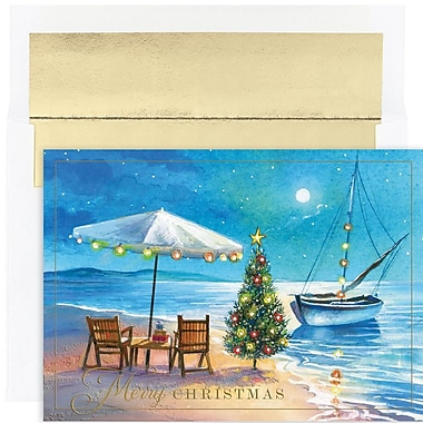 JAM Paper® Christmas Holiday Card Set, Shoreline Greetings, 18/Pack (526888800)