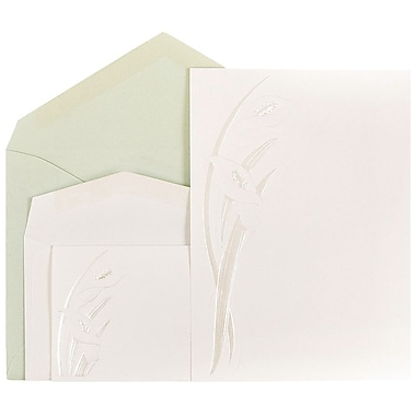 JAM Paper® Wedding Invitations, 1 Small & 1 Large, White/Pearl Calla Lily Cards, Mint Envelopes, 150/Pack (5268901miCO)