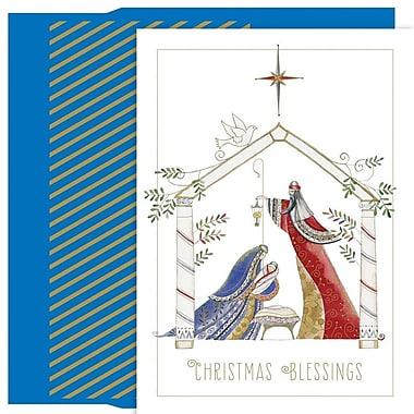 JAM Paper – Ensemble de cartes de Noël et des Fêtes, crèche contemporaine, 18/paquet (526890800)