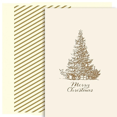 JAM Paper® Christmas Holiday Card Set, Merry Christmas Tree, 18/Pack (526890900)