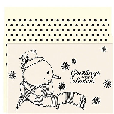 JAM Paper® Christmas Holiday Card Set, Vintage Snowman, 18/Pack (526891200)