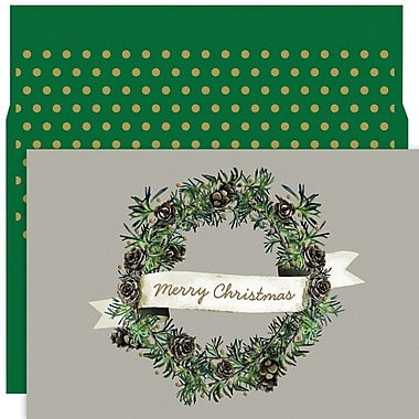 JAM Paper® Christmas Holiday Card Set, Christmas Wreath, 18/Pack (526891400)