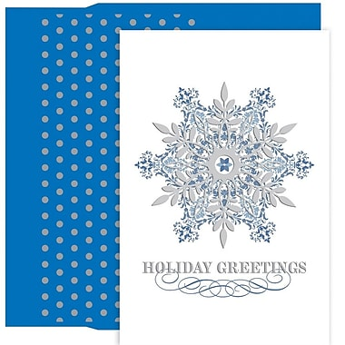 JAM Paper® Christmas Holiday Card Set, Ornate Snowflake, 18/Pack (526891600)