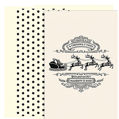 JAM Paper® Christmas Holiday Card Set, Making A List, 18/Pack (526891700)