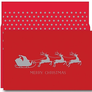 JAM Paper® Christmas Holiday Card Set, Christmas Sleigh, 18/Pack (526891800)