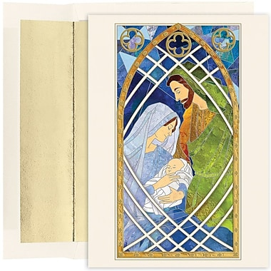 JAM Paper® Christmas Holiday Card Set, Holy Family Stained Glass, 16/Pack (526893000)