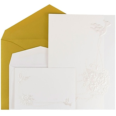 JAM Paper® Wedding Invitations, 1 Small & 1 Large, White Emboss Dove Cards, Gold Metallic Envelopes, 150/Pack (526975goCO)