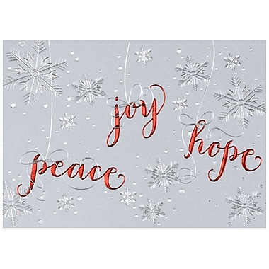 JAM Paper® Christmas Holiday Card Set, Peace Hope Joy, 25/Pack (526M0981WB)
