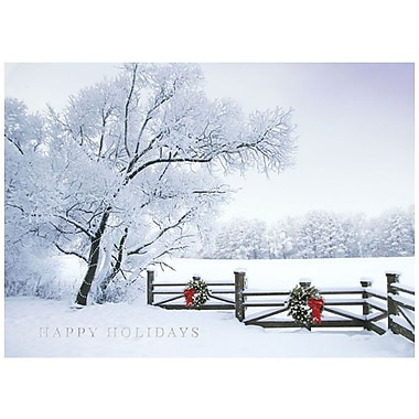 JAM Paper® Christmas Holiday Card Set, Winter Scene with Wreath, 25/Pack (526M1040WB)