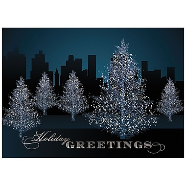 JAM Paper® Christmas Holiday Card Set, City Tree Line, 25/Pack (526M1116WB)