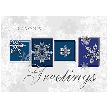 JAM Paper® Christmas Holiday Card Set, Snowflake Greeting Blocks, 25/Pack (526M1142WB)