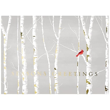 JAM Paper® Christmas Holiday Card Set, Cardinal Tree Line, 25/Pack (526M1172WB)