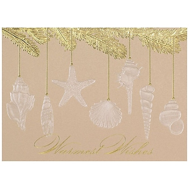JAM Paper® Christmas Holiday Card Set, Seashell Ornaments, 25/Pack (526M1321WB)