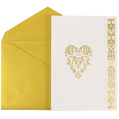 JAM Paper® Wedding Invitations, Large, White Floral Heart Design Cards, Metallic Gold Envelopes, 50/Pack (5279882go)