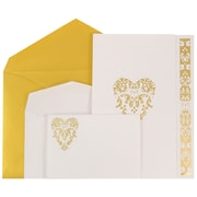 JAM Paper® Wedding Invitations, 1 Small & 1 Large, White Floral Heart Design Cards, Metallic Gold, 150/Pack (5279882goCO)