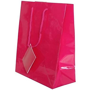 JAM Paper – Sacs-cadeaux lustrés, format moyen, 8 x 4 x 10 po, rose fuchsia vif, 6/paquet (672GLfua)