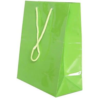 JAM Paper – Sacs-cadeaux lustrés, format moyen, 8 x 4 x 10 po, vert lime, 6/paquet (672GLlga)