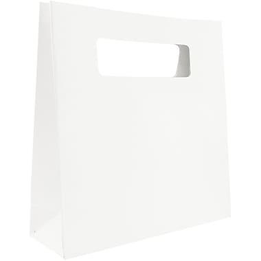 JAM Paper – Sacs-cadeaux robustes à forme découpée, format petit, 8 x 2,5 x 8, blanc, 3/paquet (898DCWHA)