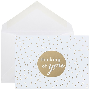 JAM Paper® Thank You Cards Set, Thinking of You Greeting, Gold Tiny Dot, 10/Pack (D41111NGLMB)