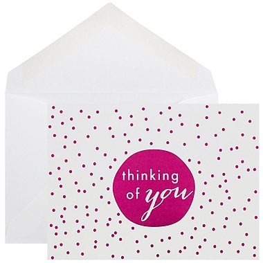 JAM Paper® Thank You Cards Set, Tiny Dot, Pink 10/Pack (D41111NPMB)