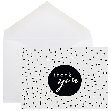 JAM Paper® Thank You Cards Set, Tiny Dot, Black 10/Pack (D41111TYBKMB)