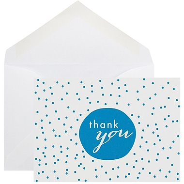 JAM Paper Thank You Cards Set, Tiny Dot, Blue 10/Pack (D41111TYBLMB)