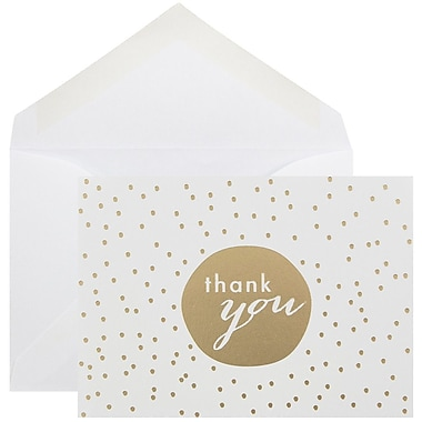 JAM Paper® Thank You Cards Set, Tiny Dot, Gold, 10/Pack (D41111TYGLMB)