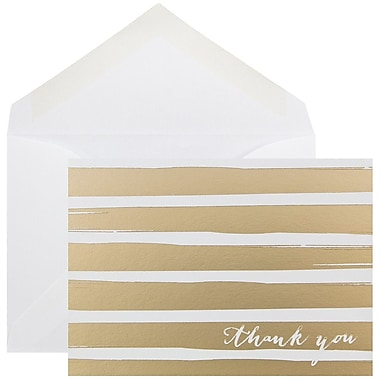 JAM Paper® Thank You Cards Set, Gold Brush Stripe, 10/Pack (D41112TYGLMB)