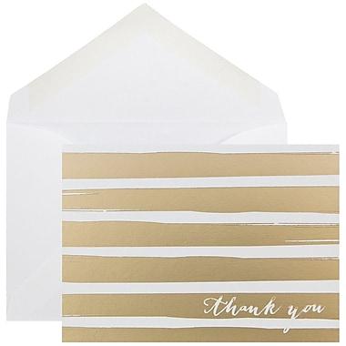 JAM Paper – Ensemble de cartes de remerciement, bande brossée dorée, 10/paquet (D41112TYGLMB)