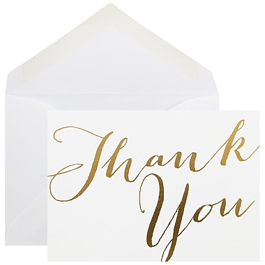 JAM Paper® Thank You Cards Set, White/Gold Script, 10/Pack (D41113TYGLMB)