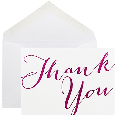 JAM Paper® Thank You Cards Set, White/Pink Script, 10/Pack (D41113TYPMB)