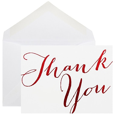 JAM Paper® Thank You Cards Set, White/Red Script, 10/Pack (D41113TYRMB)