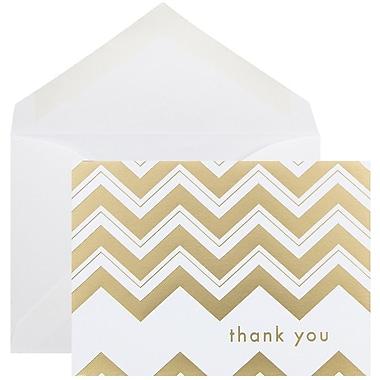 JAM Paper Thank You Cards Set, Gold Chevron Stripe, 10/Pack (D41114TYGLMB)