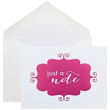 JAM Paper Thank You Cards Set, Just a Note, Pink Banner, 10/Pack (D41115NPMB)