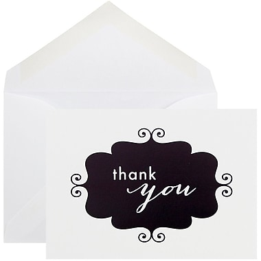 JAM Paper® Thank You Cards Set, Black Banner, 10/Pack (D41115TYBKMB)