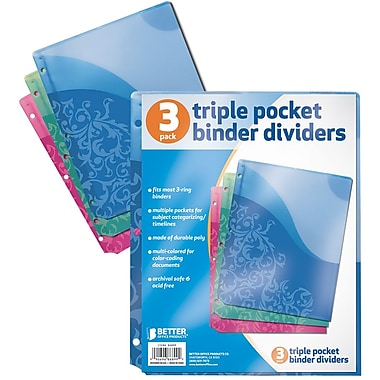 Better Office Products Triple Pocket Binder Dividers, 24/Pack