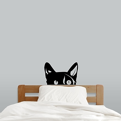 SweetumsWallDecals Peeping Cat Wall Decal; Black