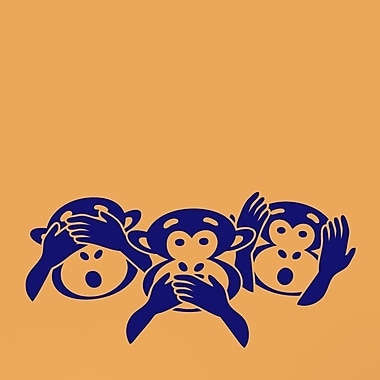 SweetumsWallDecals Three Wise Monkey Heads Wall Decal; Navy