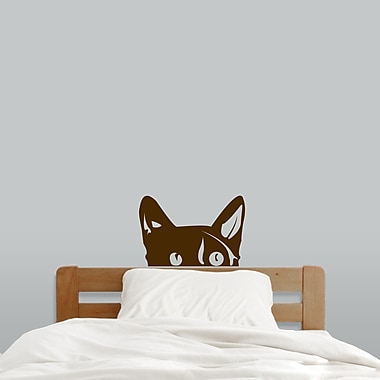 SweetumsWallDecals Peeping Cat Wall Decal; Brown