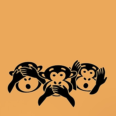 SweetumsWallDecals Three Wise Monkey Heads Wall Decal; Black