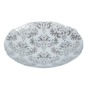 Red Pomegranate Damask Centerpiece Bowl; White Silver
