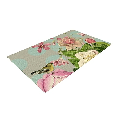 East Urban Home Suzanne Carter Vintage Garden Cush Flowers Green/Pink Area Rug; 4' x 6'
