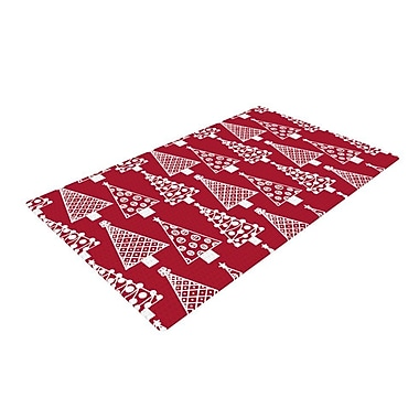 East Urban Home Emine Ortega Jolly Trees Crimson Red/White Area Rug; 4' x 6'