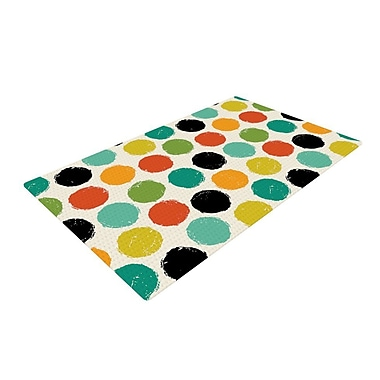 East Urban Home Daisy Beatrice Retro Dots Repeat Yellow/Blue Area Rug; 4' x 6'